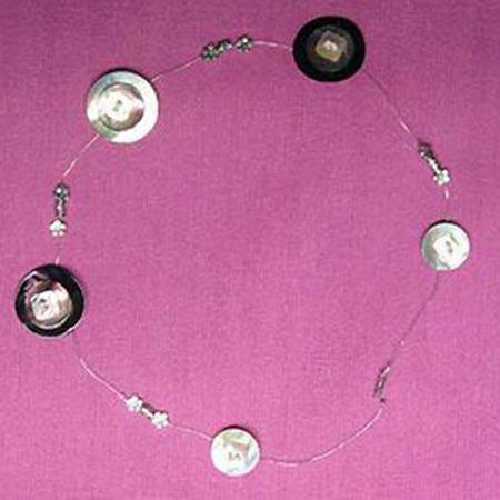 Sequins de nacre trèfle x 2 - 3,5 x 5 cm - bleu col 6312