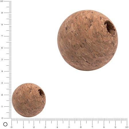 Boule de liège trouée - 3 cm - 5 pcs