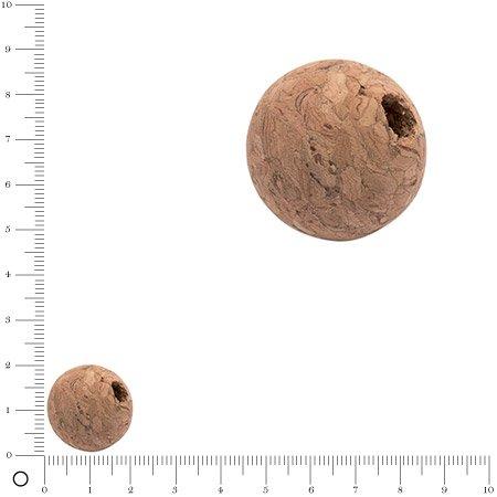 Boule de liège trouée - 2 cm - 10 pcs