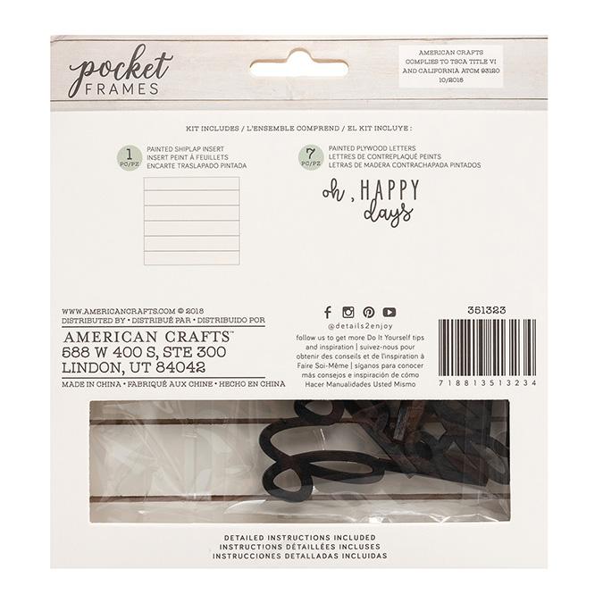 Kit Happy pour cadre Pocket Frames 15 x 14 cm