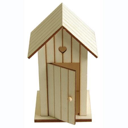 Cabine de plage en bois - 7 x 8,5 x 14 cm