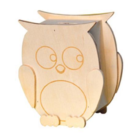 Support à décorer en bois - Tirelire en bois - Hibou - 12,4 x 14,5 cm