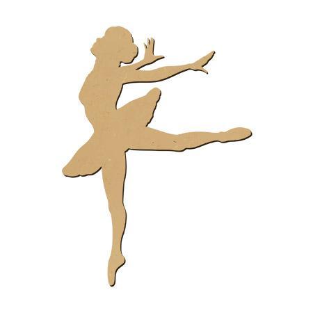 Support à décorer en bois médium - Danseuse saut GM - 25 x 18 cm