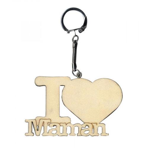 Porte-clés à décorer en bois I LOVE MAMAN - 11 x 8 cm