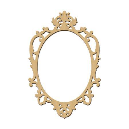 Sujet en bois médium - Photobooth Cadre baroque Ovale - 60 x 40 cm