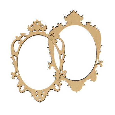 Sujet en bois médium - Photobooth Cadre baroque ovale - 60 x 40,5 cm - 2 pcs
