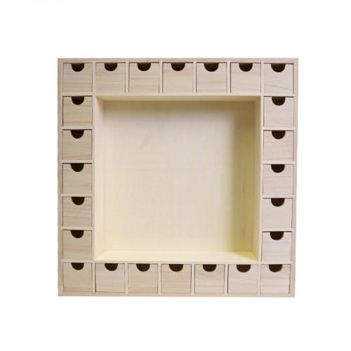 Calendrier de l'Avent en bois 24 compartiments - 39,5 x 39,5 cm
