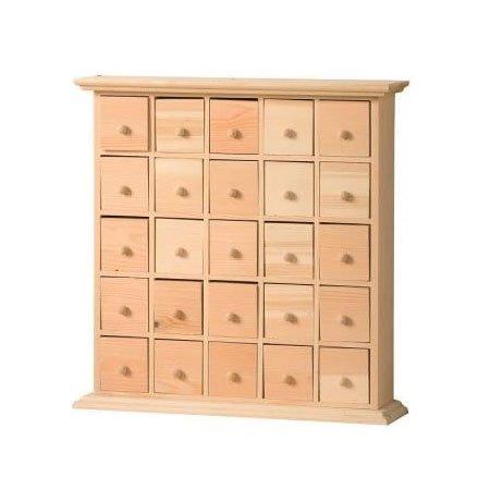 Meuble 25 tiroirs en bois - 30 x 8 x 30 cm
