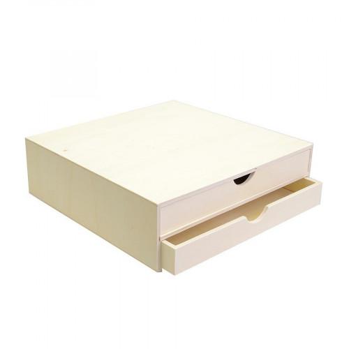 Support à décorer en bois - Bloc avec deux tiroirs - 34,5 x 34 x 10 cm
