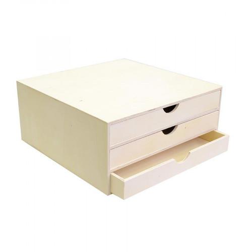 Support à décorer en bois - Bloc avec trois tiroirs - 34,5 x 34 x 15,5 cm