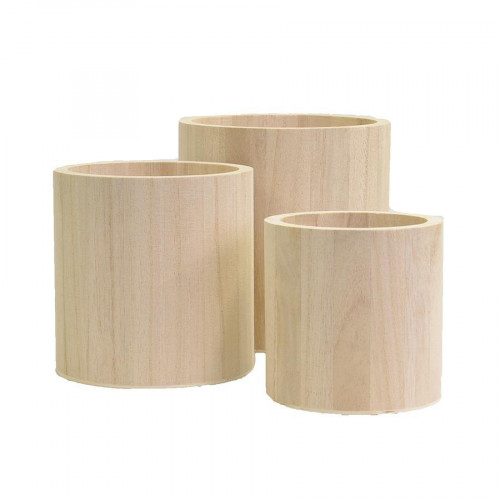 Support à décorer en bois - Lot de 3 pots ronds