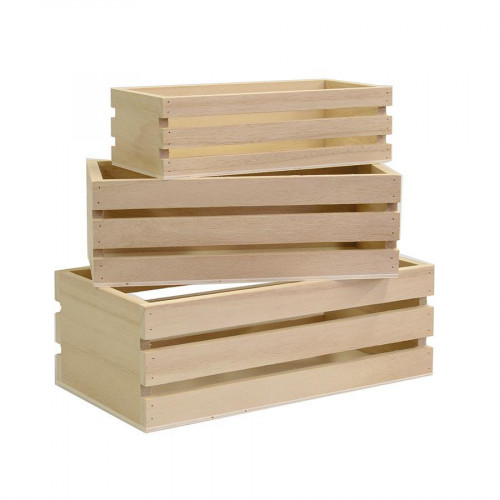 Support à décorer en bois - Lot de 3 casiers