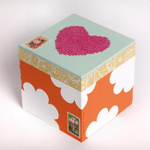 Support à décorer en bois - Boîte carrée - 12 x 12 x 12 cm