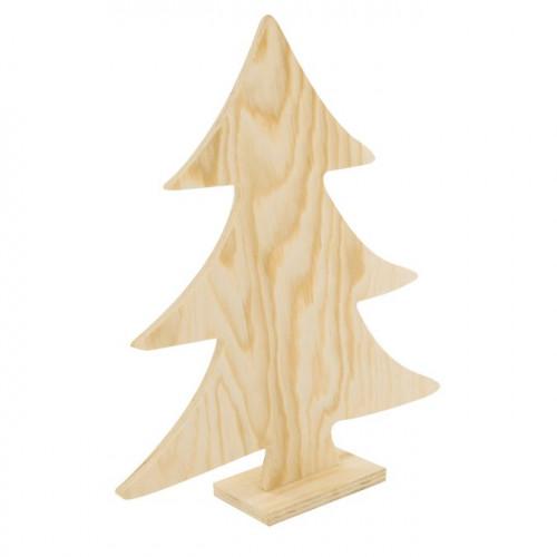 Sapin en bois classique sur socle - 26 x 22 cm