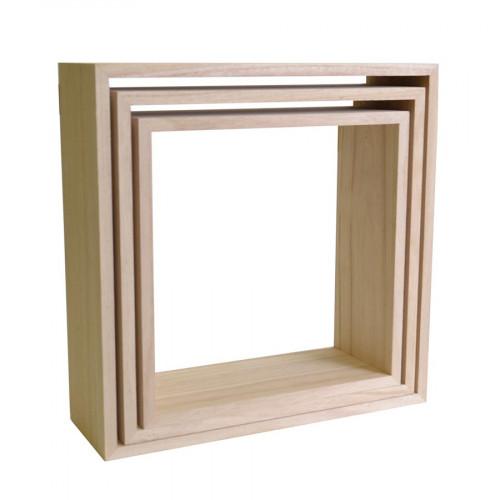 Etagères carrées en bois - 3 pcs