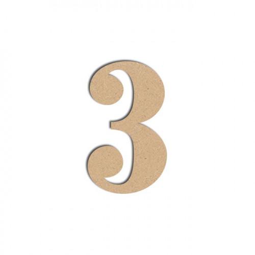 Chiffre en bois médium - 3 - 12 cm