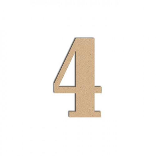 Chiffre en bois médium - 4 - 12 cm