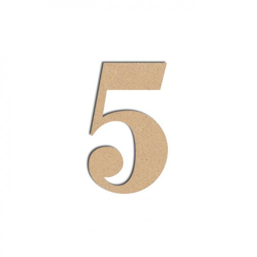 Chiffre en bois médium - 5 - 12 cm