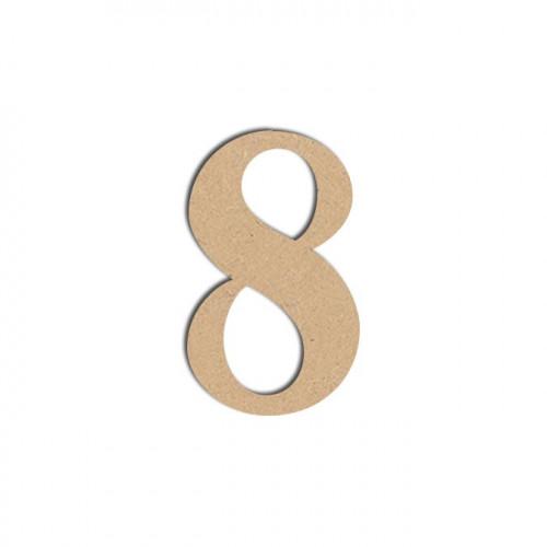 Chiffre en bois médium - 8 - 12 cm