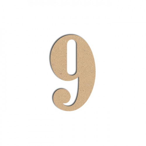 Chiffre en bois médium - 9 - 12 cm