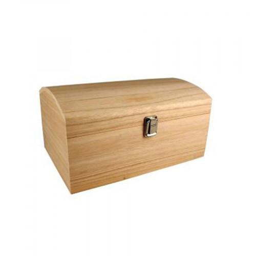 Coffre avec couvercle bombé en bois - 30 x 20 x 15 cm