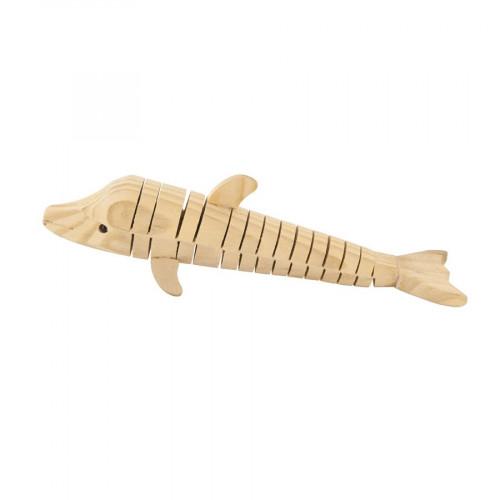 Dauphin articulé en bois - 3 x 5 x 18,5 cm