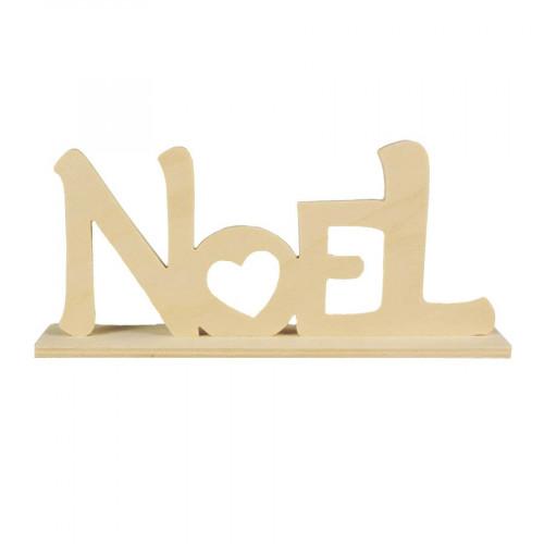 Mot NOEL en bois - avec socle - 20 x 9 x 4 cm