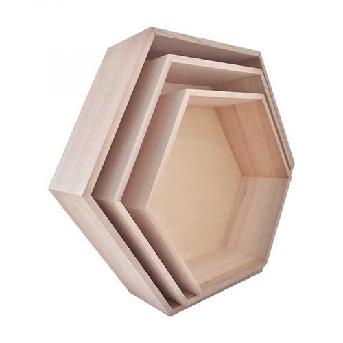 Etagères en bois - hexagonale - 3 pcs