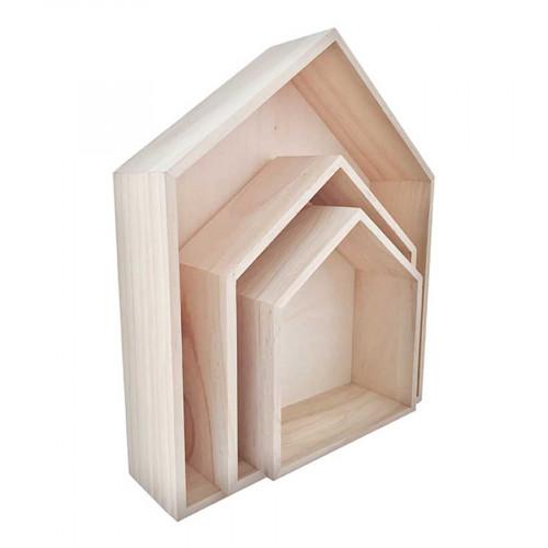 Etagères en bois - maison - 3 pcs