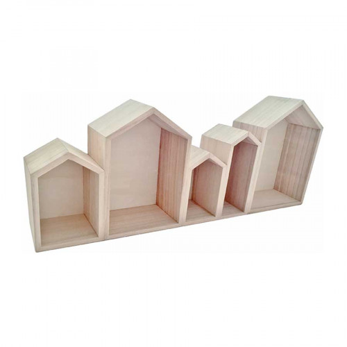 Etagère en bois - Bloc de 5 maisons - 50,3 x 20 x 8 cm