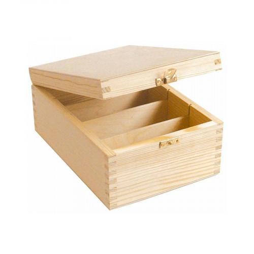 Boîte de rangement en bois - 4 compartiments - 24 x 10,5 x 17 cm