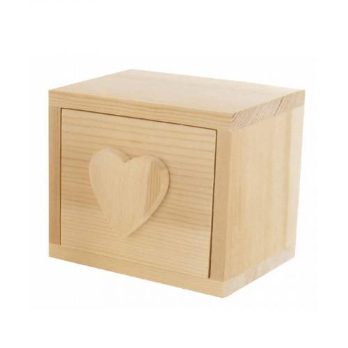 Commode Cœur en bois - 1 tiroir - 10 x 10 x 7,5 cm