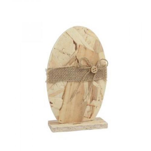Œuf à posé en bois compressé - 18 x 11 x 4 cm