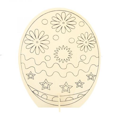 Œuf + socle prédéssinés en bois - 21,5 x 16 x 0,3 cm
