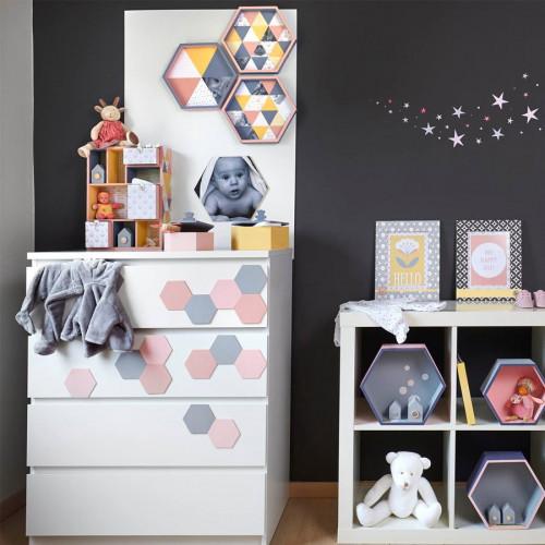 Plaque hexagonale - Bois - 30 x 26 cm
