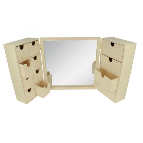 Coiffeuse en bois avec miroir - 26 x 52 x 6 cm