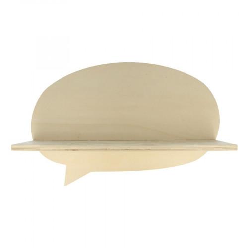 Etagère phylactère en bois - Adorable - 39 x 25,5 x 11 cm