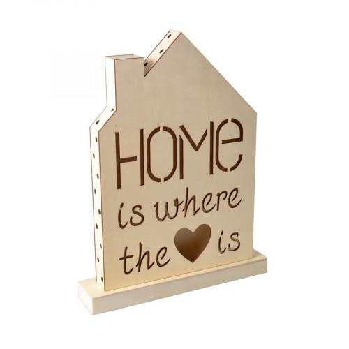 Lampe en bois à LED - Home Sweet Home - 33 x 43 x 4,4 cm