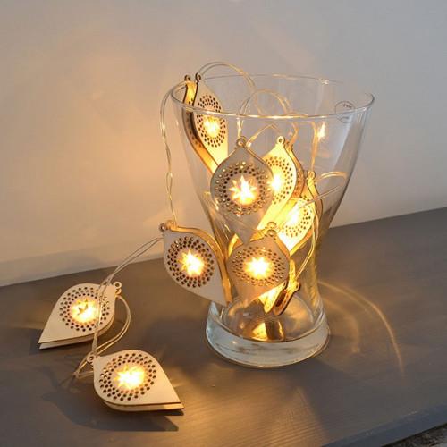 Guirlande en bois à LED - Boules - 130 cm