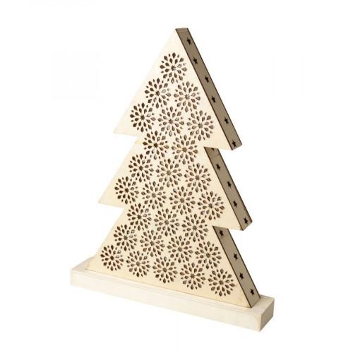 Lampe en bois à LED - Sapin - 33 x 43 x 4,4 cm