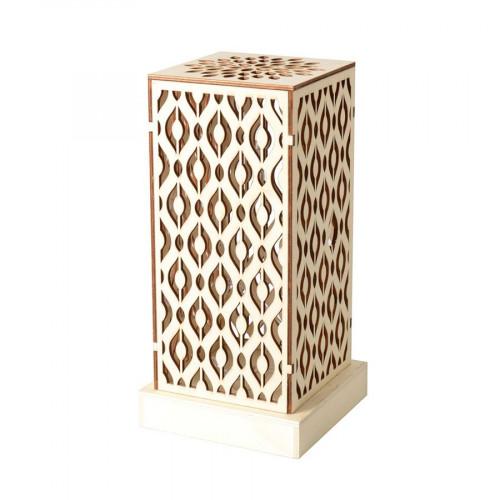 Lampe en bois à LED - Géométrique - 14 x 28,5 x 14 cm
