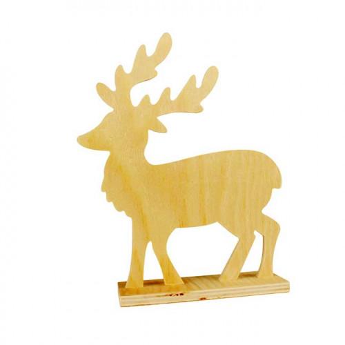 Cerf en bois à poser - 20 x 16,5 x 5 cm