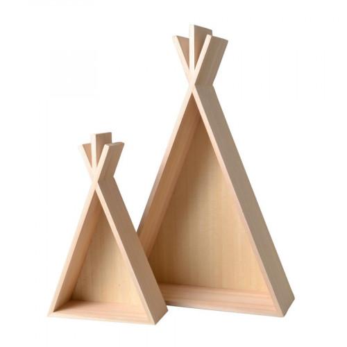 Etagères en bois - Totem - Tipi - 2 pcs - H. 29,5 et 45,8 cm