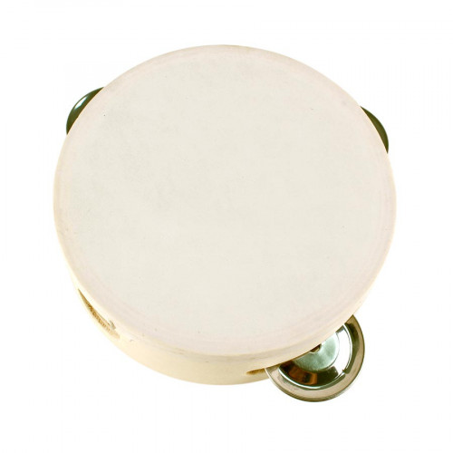 Tambourin rond en bois avec cymbales - 12 x 12 x 4 cm