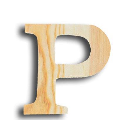 Support à décorer en bois - Lettre petit modèle - P - 11 x 11,4 cm
