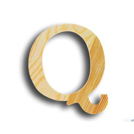 Support à décorer en bois - Lettre petit modèle - Q - 10,1 x 12,3 cm