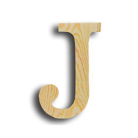 Support à décorer en bois - Lettre petit modèle - J - 7,9 x 11,5 cm