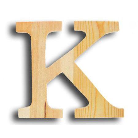 Support à décorer en bois - Lettre petit modèle - K - 12,8 x 11,5 cm