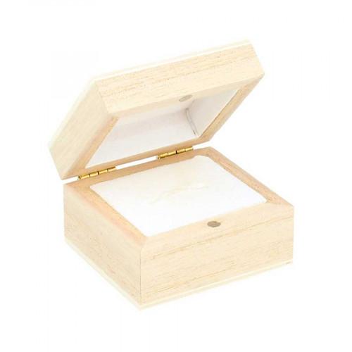 Boîte pour bague en bois - 5,1 x 4,7 x 3,2 cm