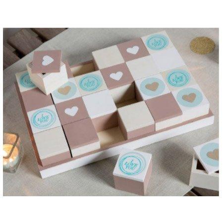 Plateau avec 24 boîte en bois - 31,8 x 21,8 x 2,5 cm
